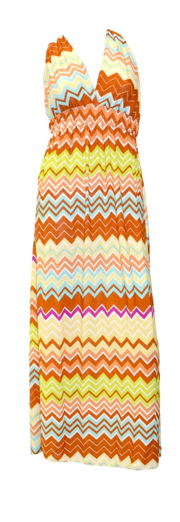 Belle Donne- Women Sleeveless Dresses Maxi Dress- Orange Chevron Print Racerback / L