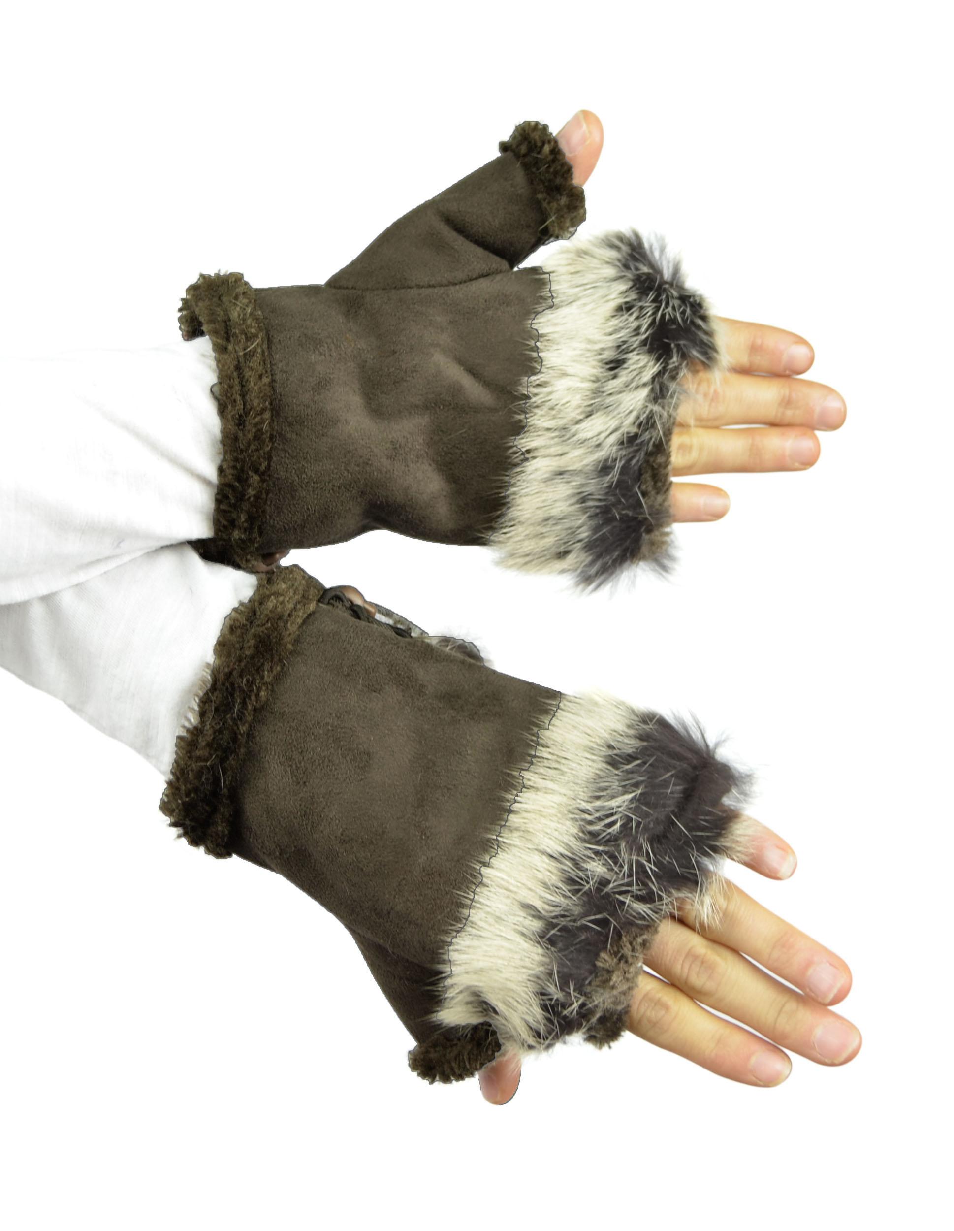 Belle Donne - Women's Fingerless Faux Fur Trim Gloves - Dark Brown