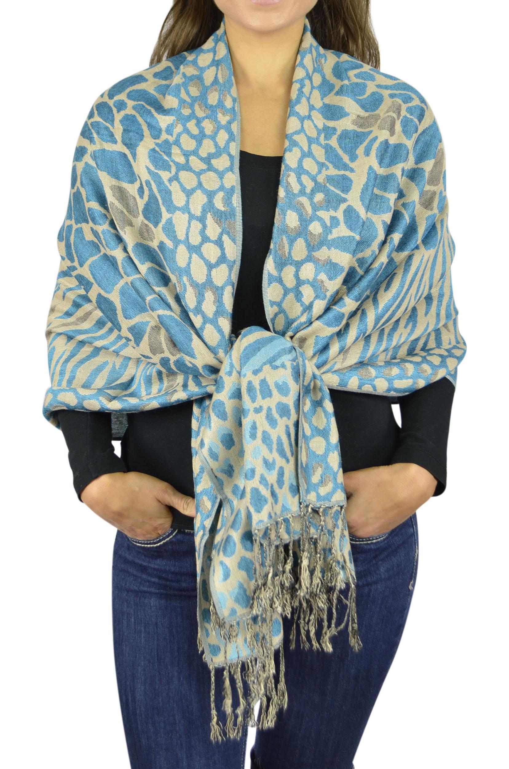 Pashmina Women Soft Wrap Shawl Animal Print Scarf By Belle Donne - Blue