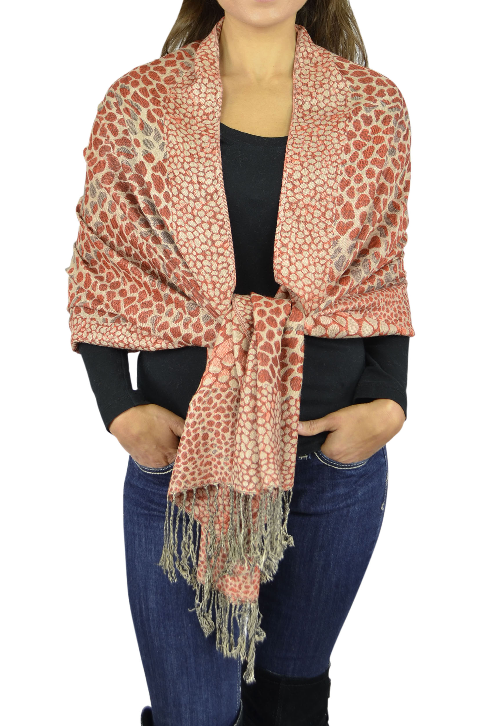 Pashmina Women Soft Wrap Shawl Animal Print Scarf By Belle Donne - Rust