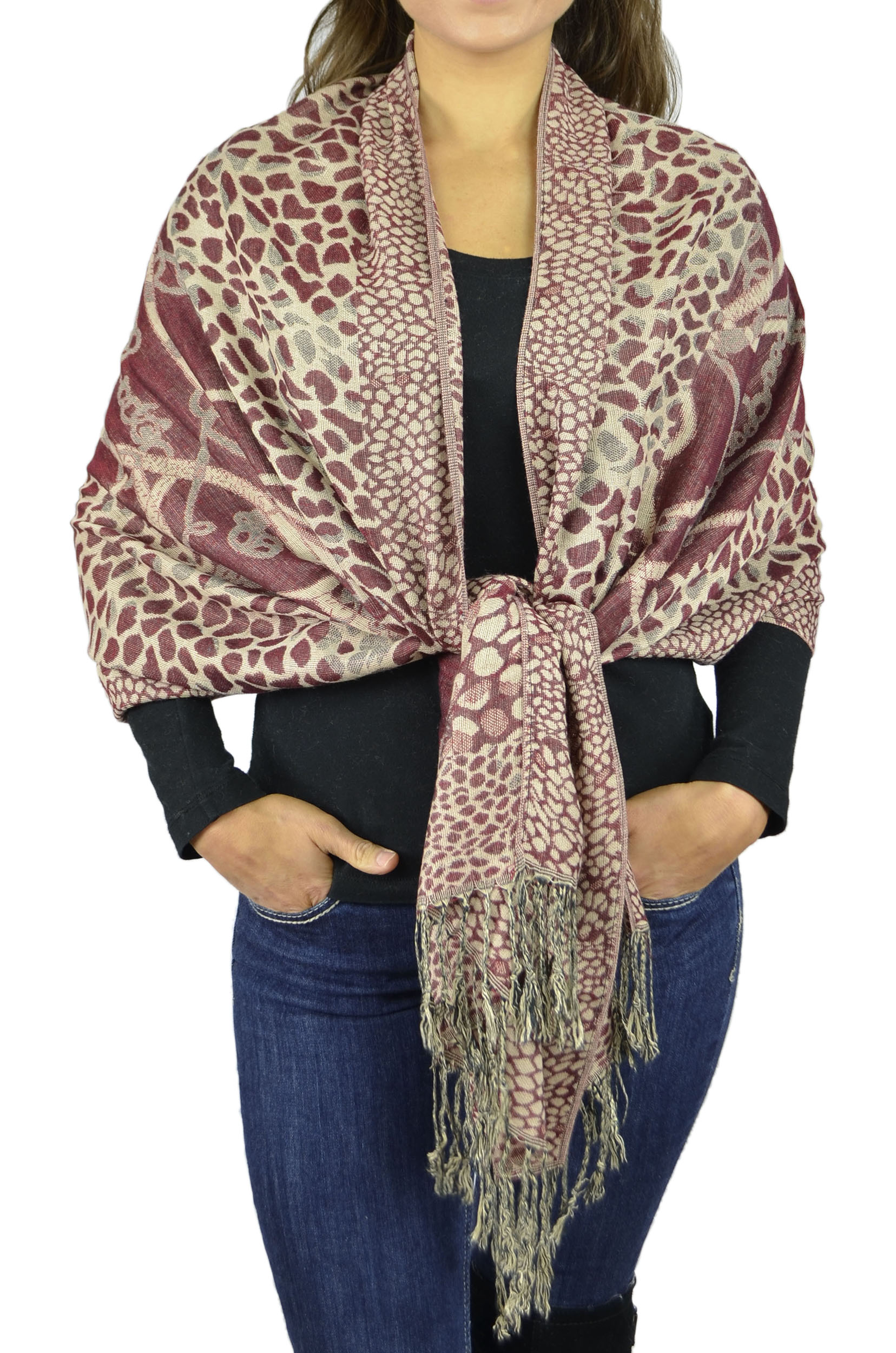 Pashmina Women Soft Wrap Shawl Animal Print Scarf By Belle Donne - Maroon