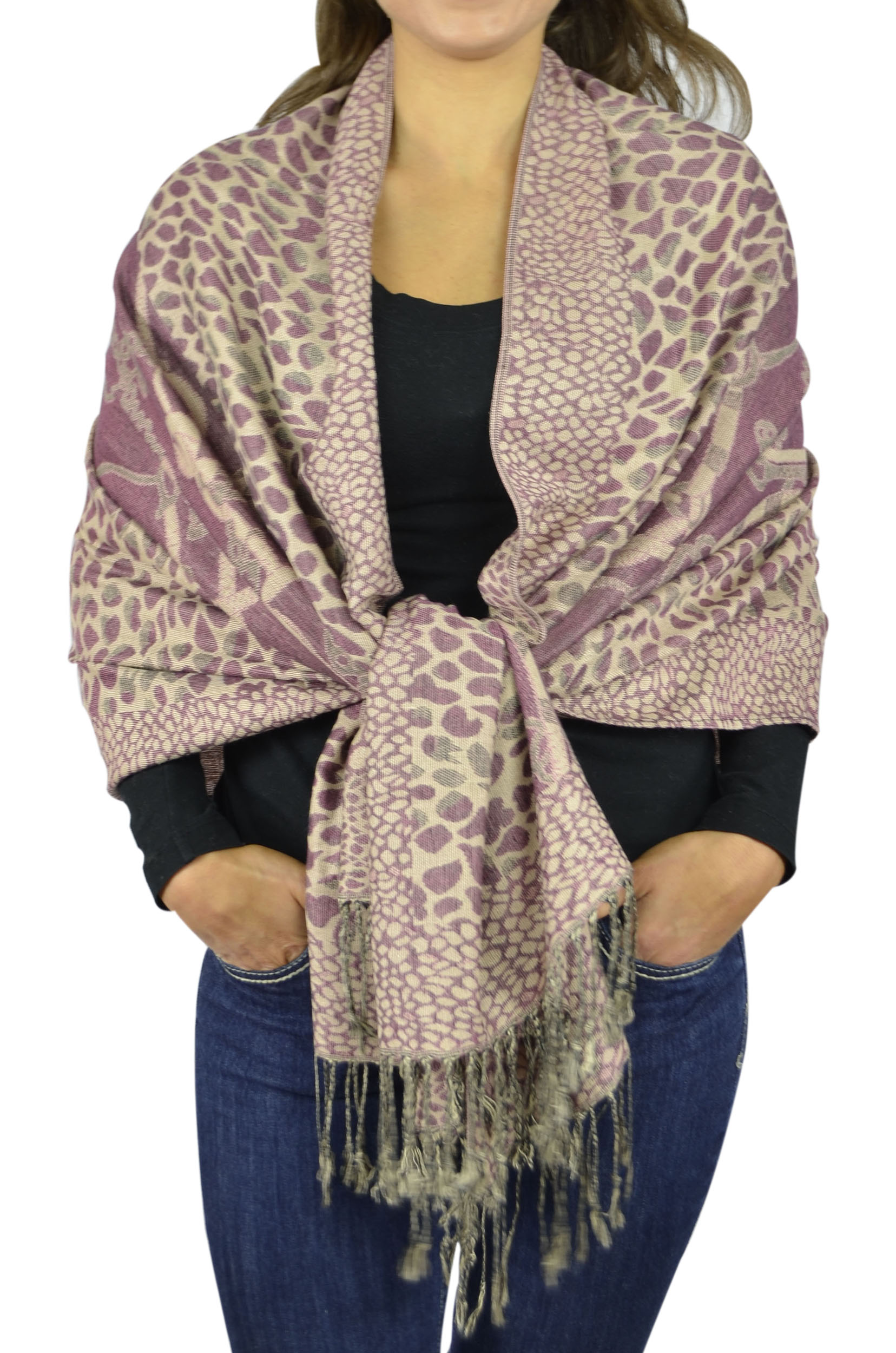 Pashmina Women Soft Wrap Shawl Animal Print Scarf By Belle Donne - Deep Burgundy