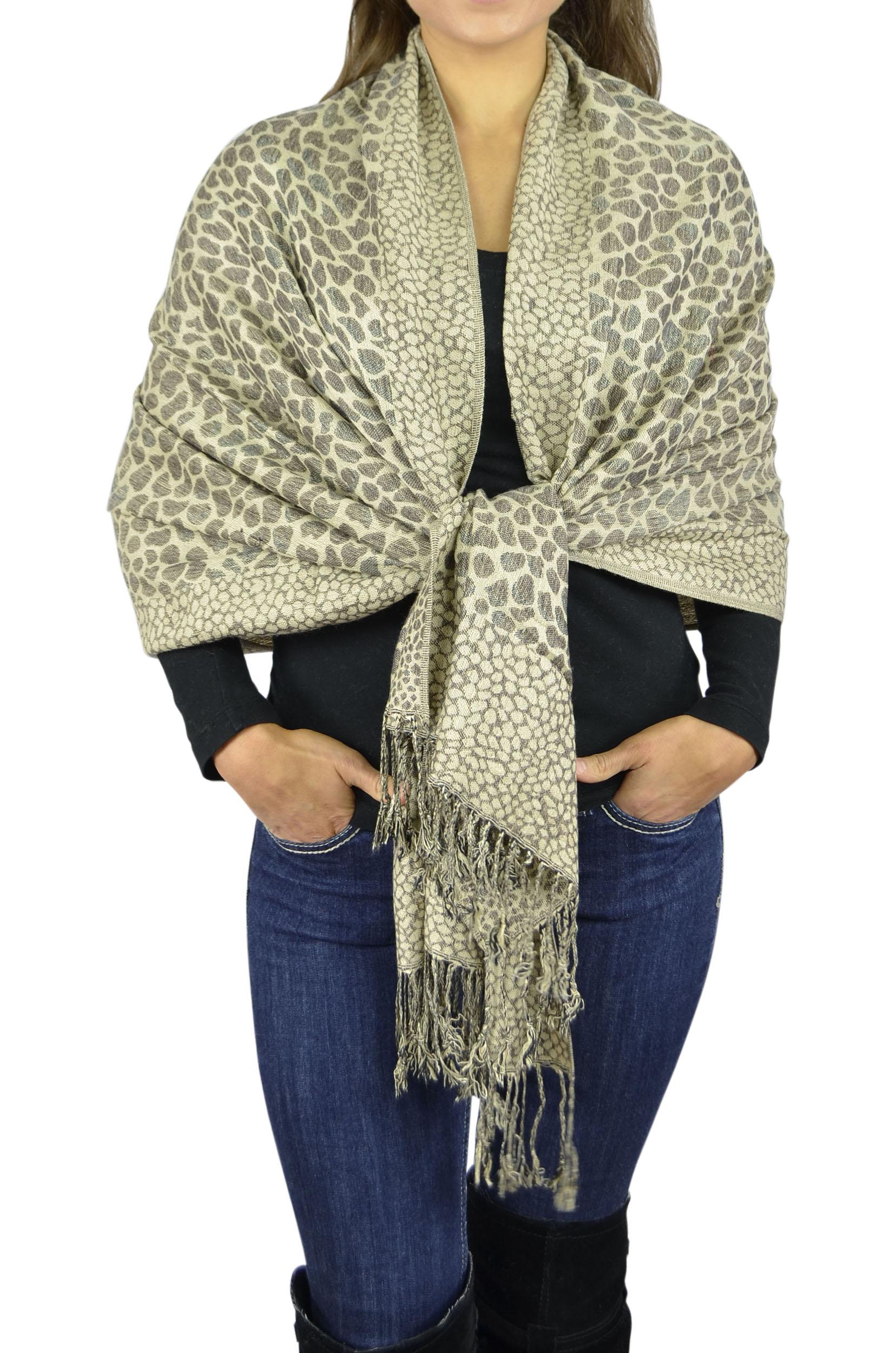 Pashmina Women Soft Wrap Shawl Animal Print Scarf By Belle Donne - Tan
