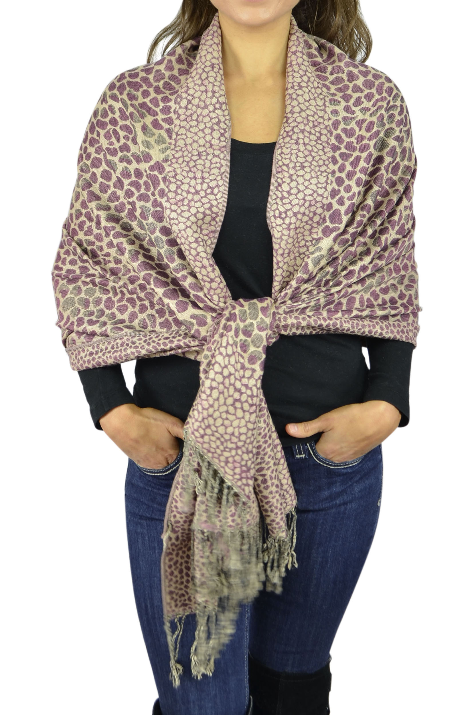 Pashmina Women Soft Wrap Shawl Animal Print Scarf By Belle Donne - Wine