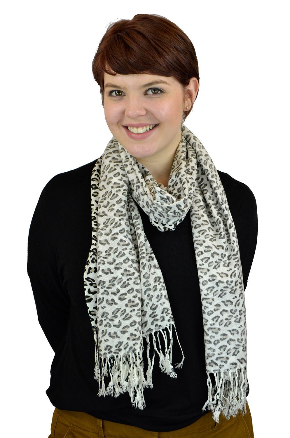 Pashmina Women Scarf Soft Wrap Shawl Animal Print By Belle Donne - White