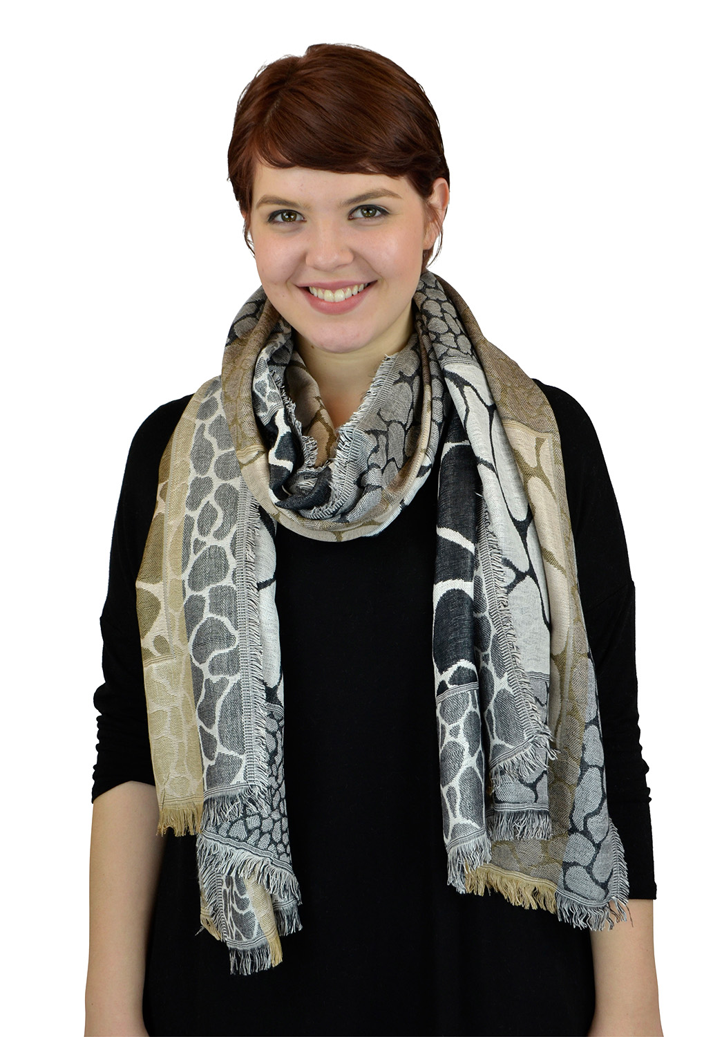 Pashmina Women Scarf Soft Wrap Shawl Animal Print By Belle Donne - Brown