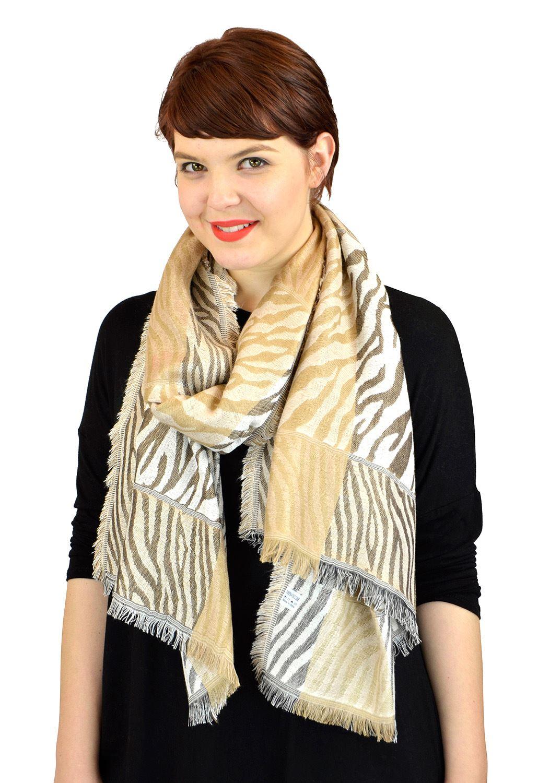 Pashmina Scarves Women Scarf Soft Wrap Shawl Animal Print: Zebra Print Scarves By Belle Donne - Brown