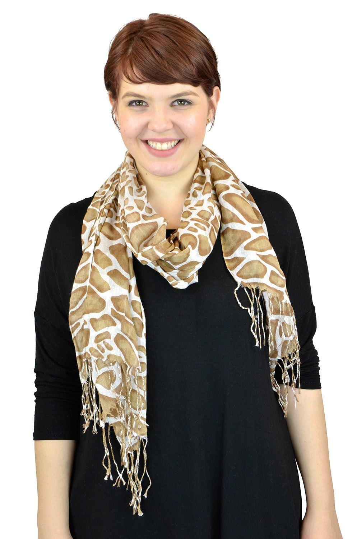 Pashmina Women Scarf Soft Wrap Shawl Animal Print By Belle Donne - White