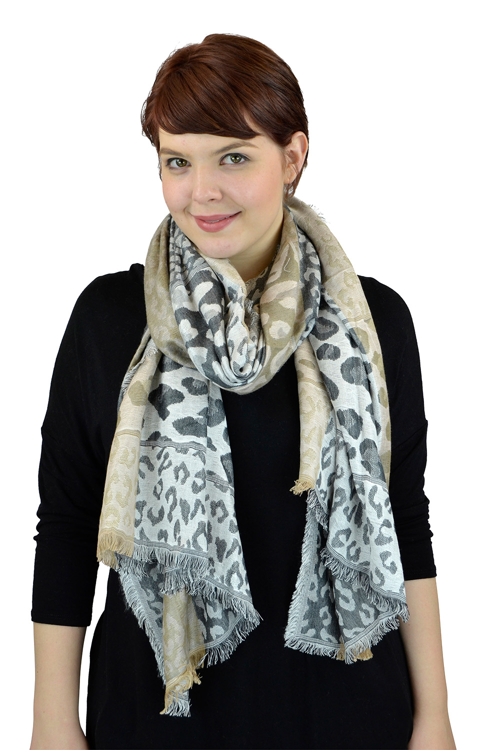 Pashmina Women Scarf Soft Wrap Shawl Animal Print By Belle Donne - Charcoal