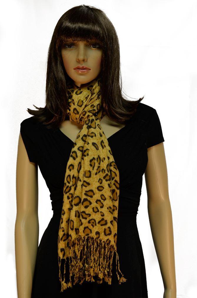 Pashmina Scarves Women Scarf Soft Wrap Shawl Animal Print: Leopard Print Scarves By Belle Donne - Coffee