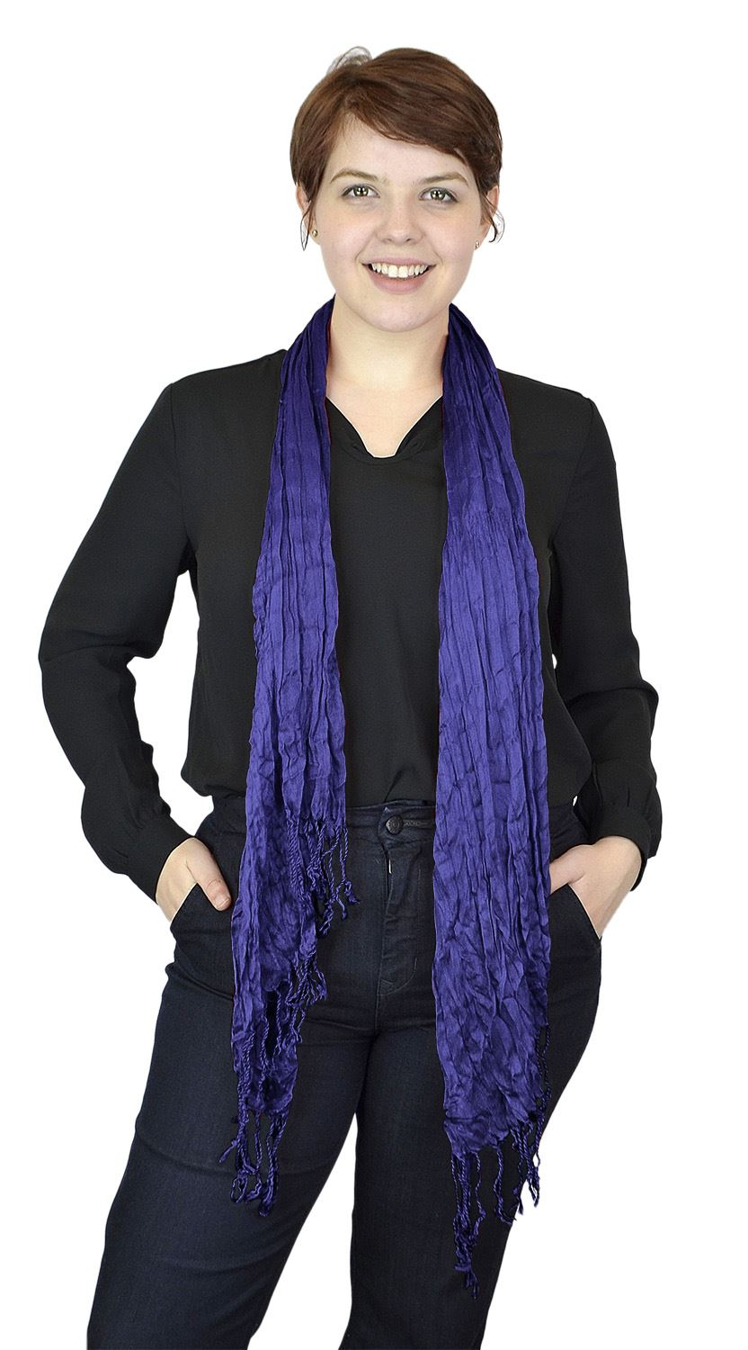 Belle Donne - Women's Crinkle Fashion Scarf Solid Color Polyester Scarves - Midnight Blue