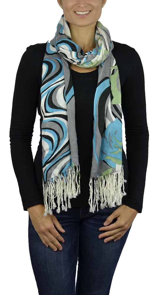 Belle Donne - Women's Soft Floral Pattern 70% Pashmina Laced Scarf - Turquoise