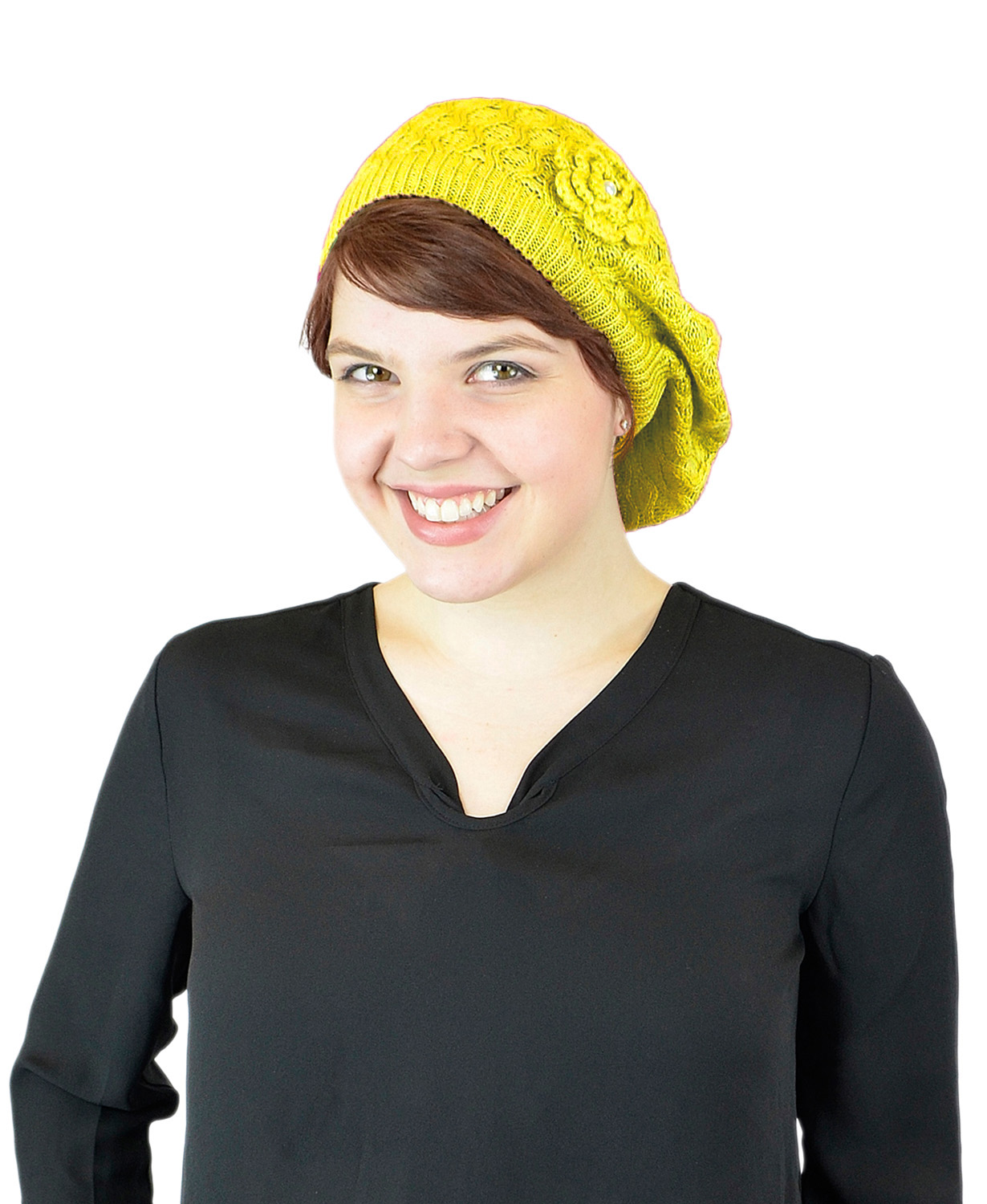 Belle Donne - Women's Mesh Crocheted Accented Stretch Beret Hat- Yellow