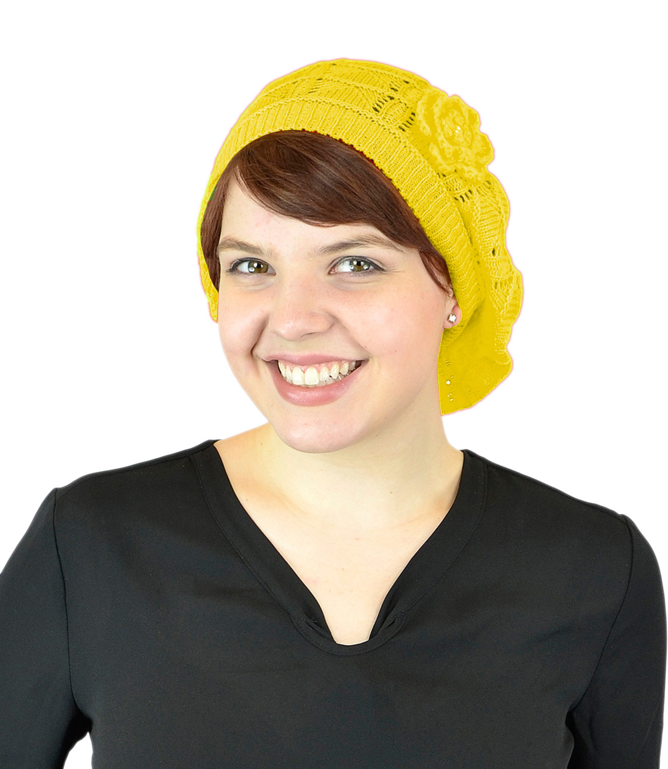 Belle Donne-Women's Mesh Crocheted Flower Accented Slouchy Beret Hat- Yellow
