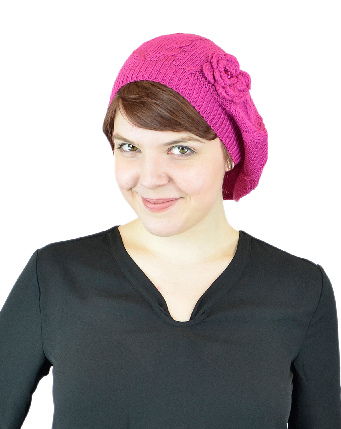 Belle Donne - Women's Mesh Crocheted Accented Stretch Beret Hat- HotPink 4082