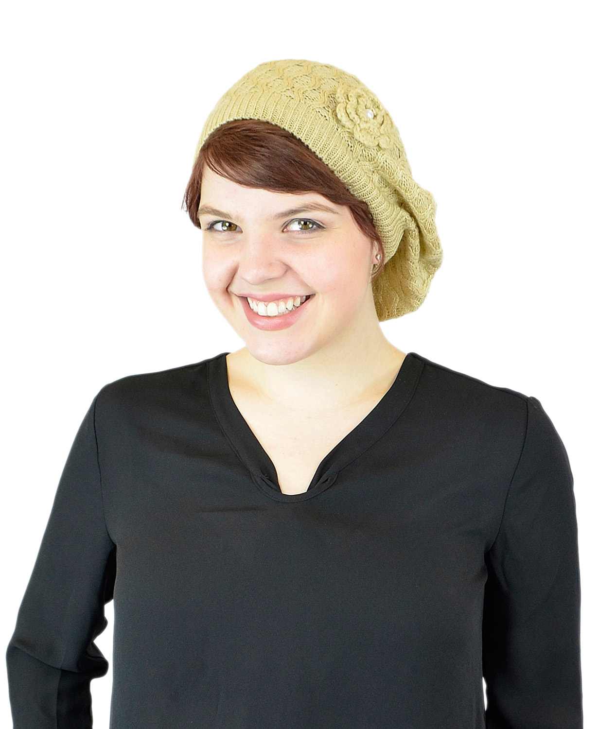 Belle Donne - Women's Mesh Crocheted Accented Stretch Beret Hat- Tan 4081