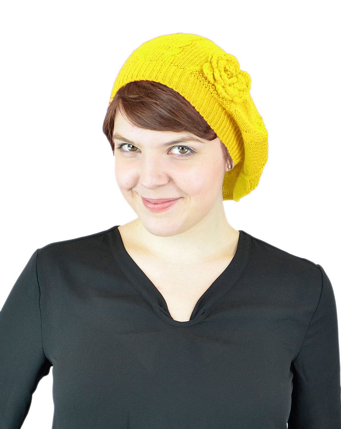 Belle Donne - Women's Mesh Crocheted Accented Stretch Beret Hat- Yellow 4082