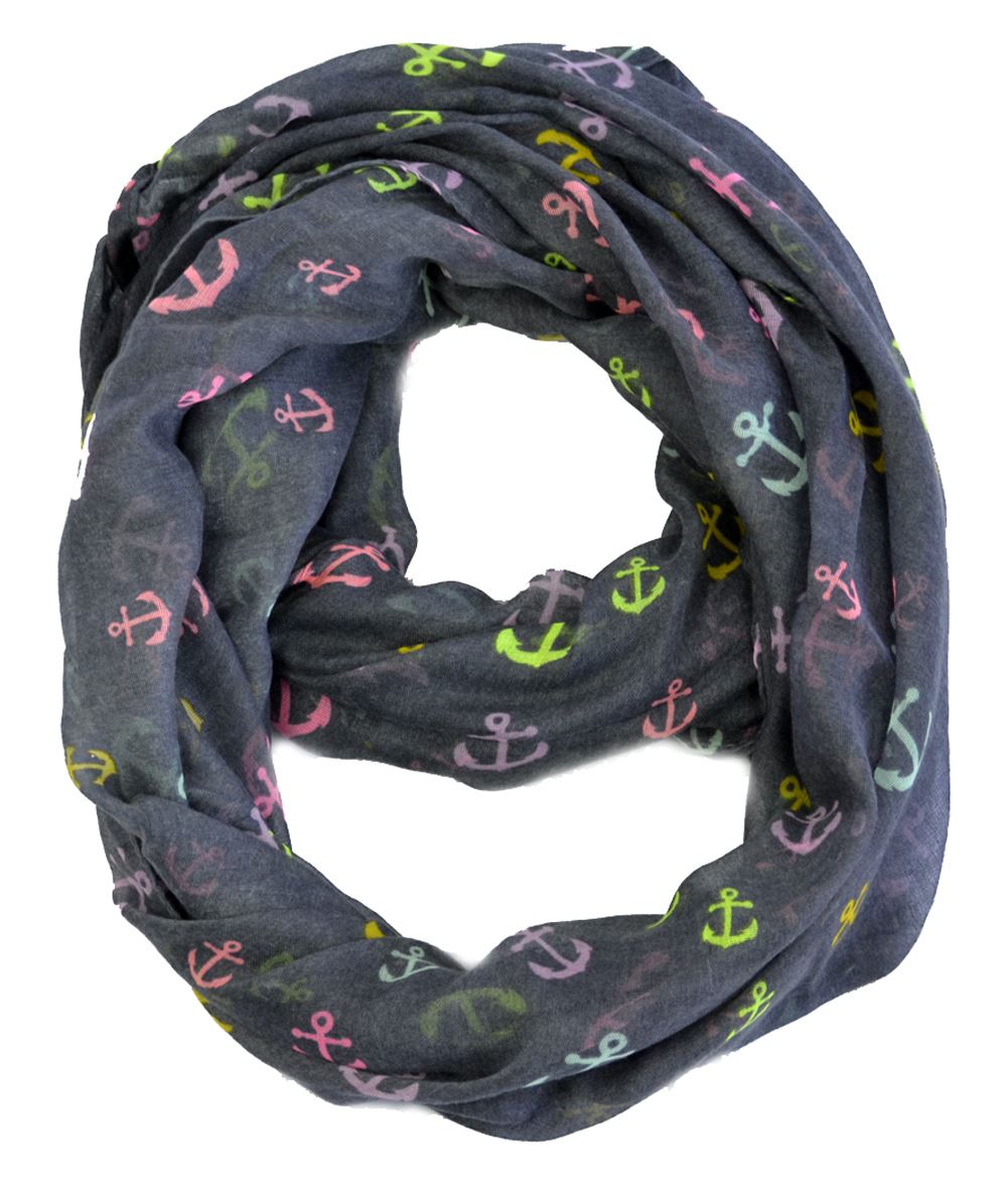 Belle Donne - Lightweight Bright Color Anchor Printed Infinity Scarf in Charcoal