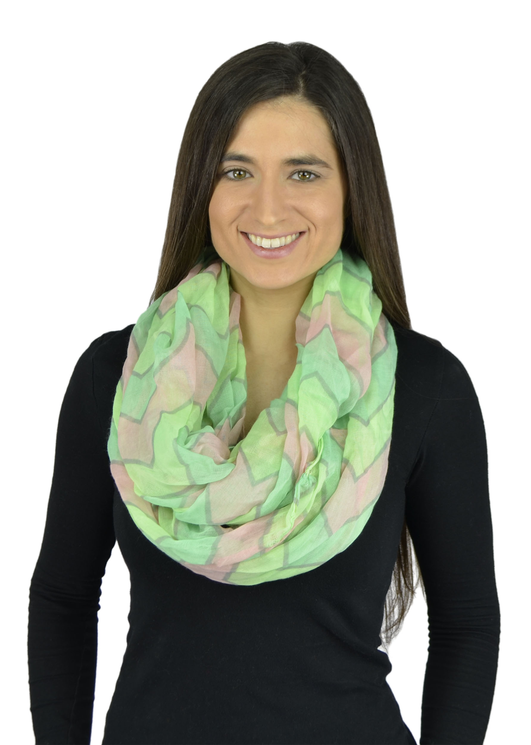 Belle Donne - Womens Mens Infinity Loop Scarves Beautiful Fashion Pattern Prints - Neon