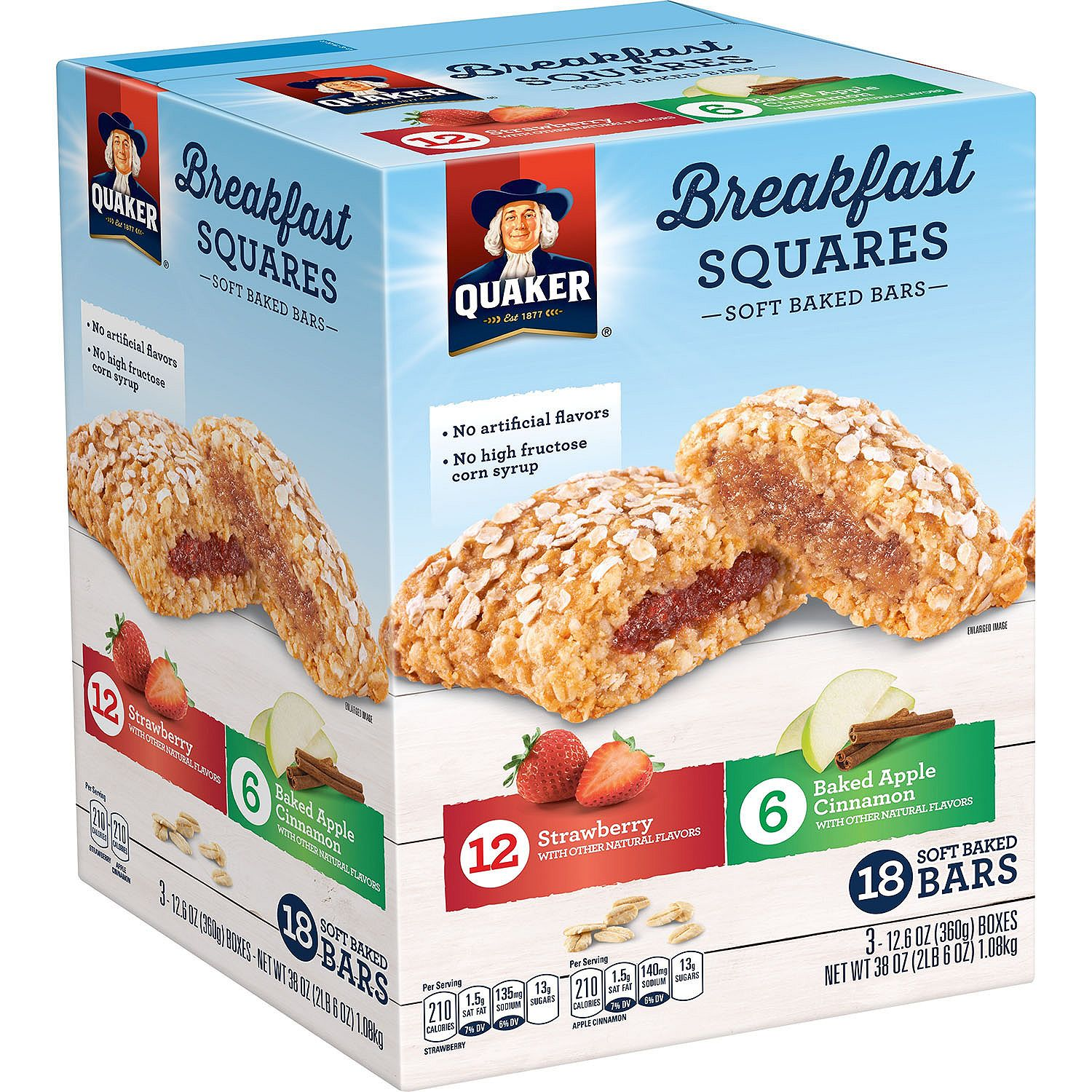 Quaker Soft Baked Breakfast Squares Bars Variety Pack (18 pk.)