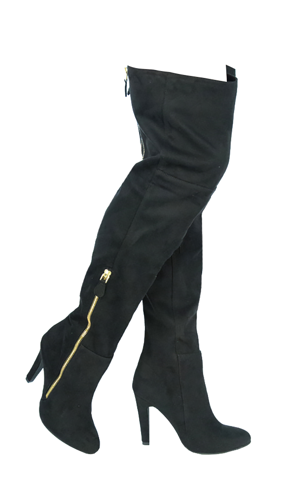 Giovani Donne - Over The Knee Boots For Women Faux Suede Leather Black 5.5