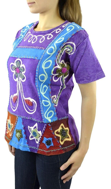 Belle Donne- Women's Cotton Half Sleeve T-Shirt -Blue/Purple-XXL