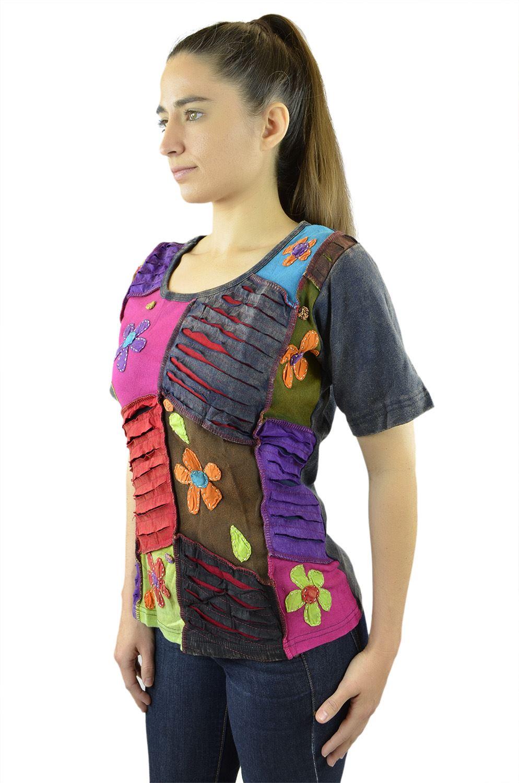 Belle Donne- Women's Cotton Half Sleeve T-Shirt -Orange/Brown/Purple-L