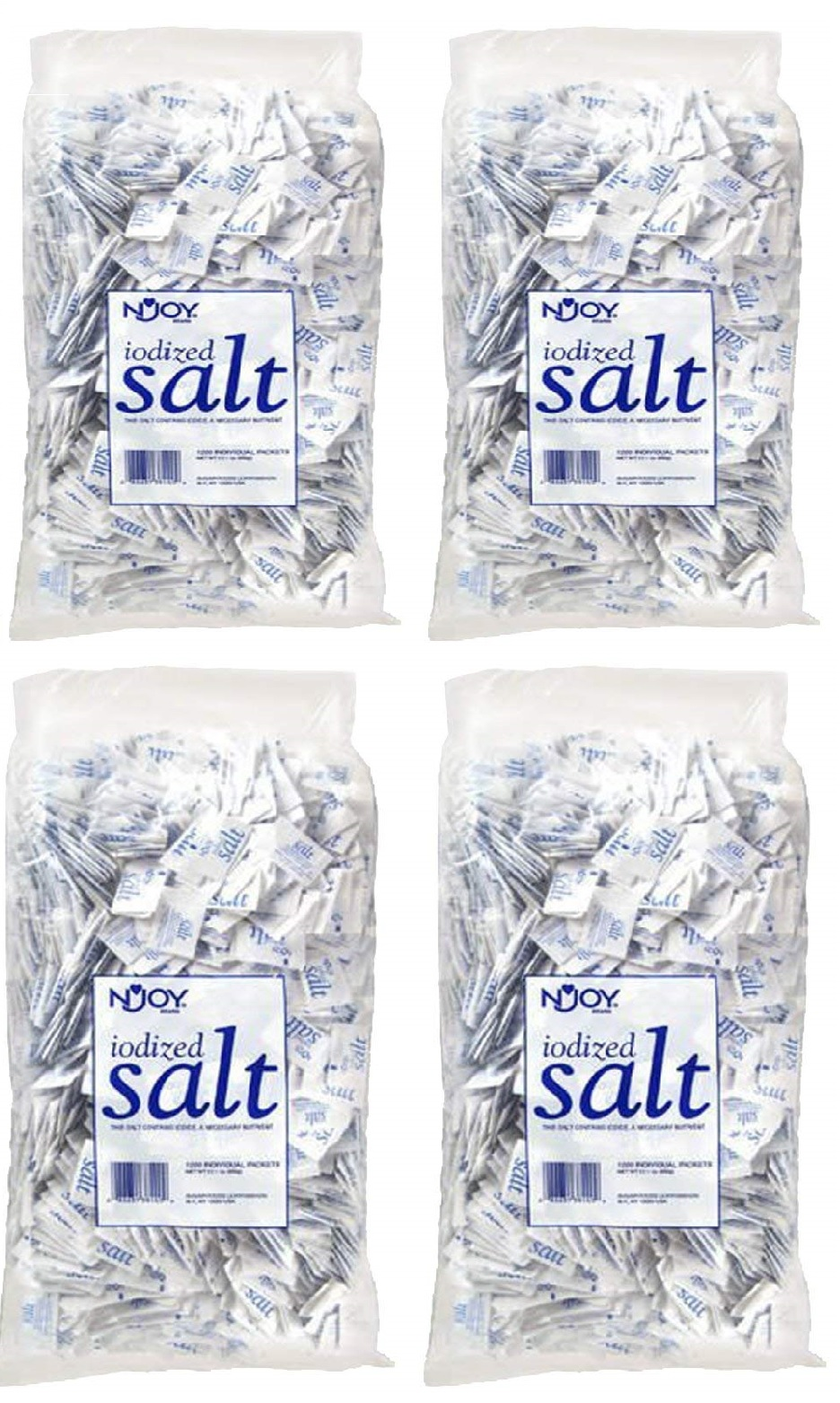 N'Joy Iodized Salt - 1,200 ct.5 gm Packets (Pack of 4)