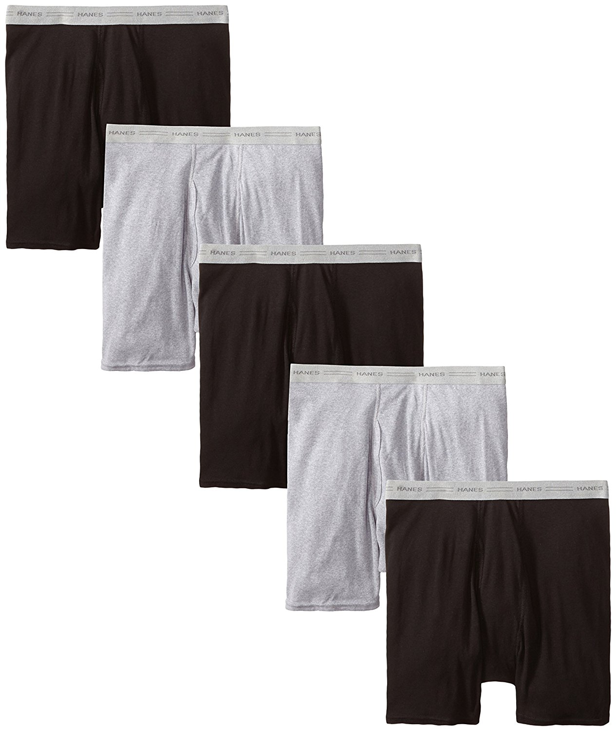 Hanes Ultimate Men's 5-Pack Boxer Brief-Colors May Vary, Black/Grey, Small