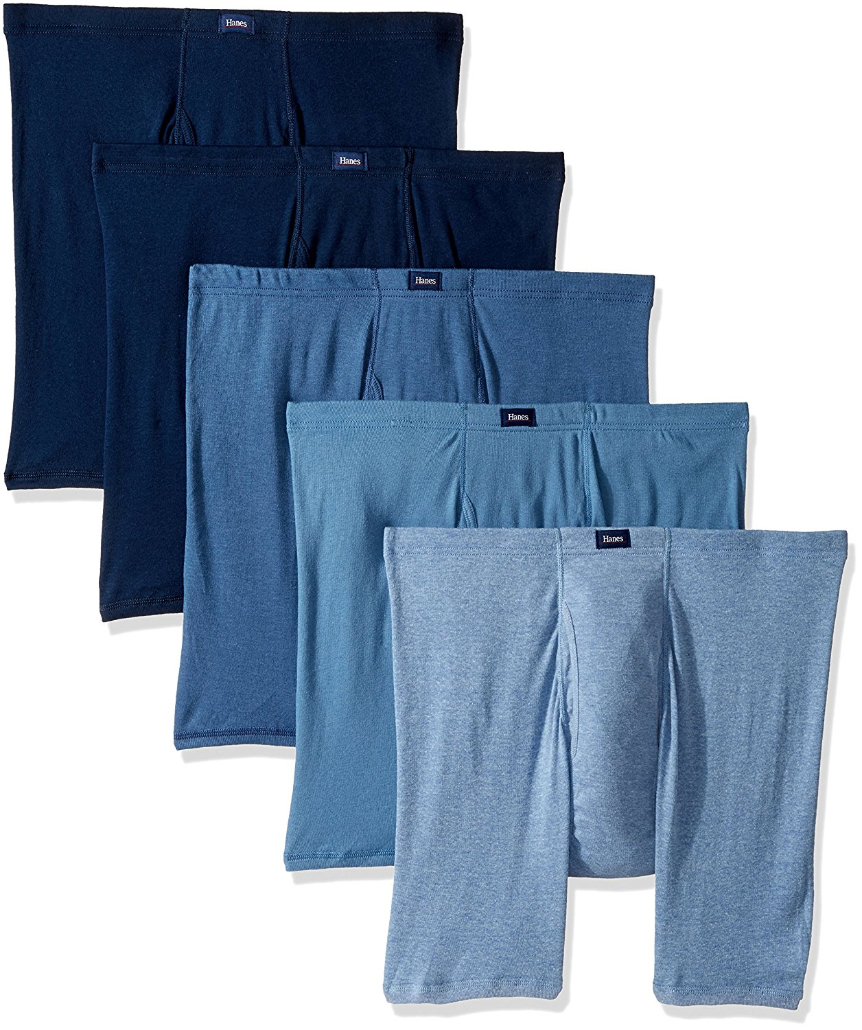 Hanes Ultimate Men's 5 Pack Ultimate Comfort Soft Waistband Boxer Briefs, Blue, Medium