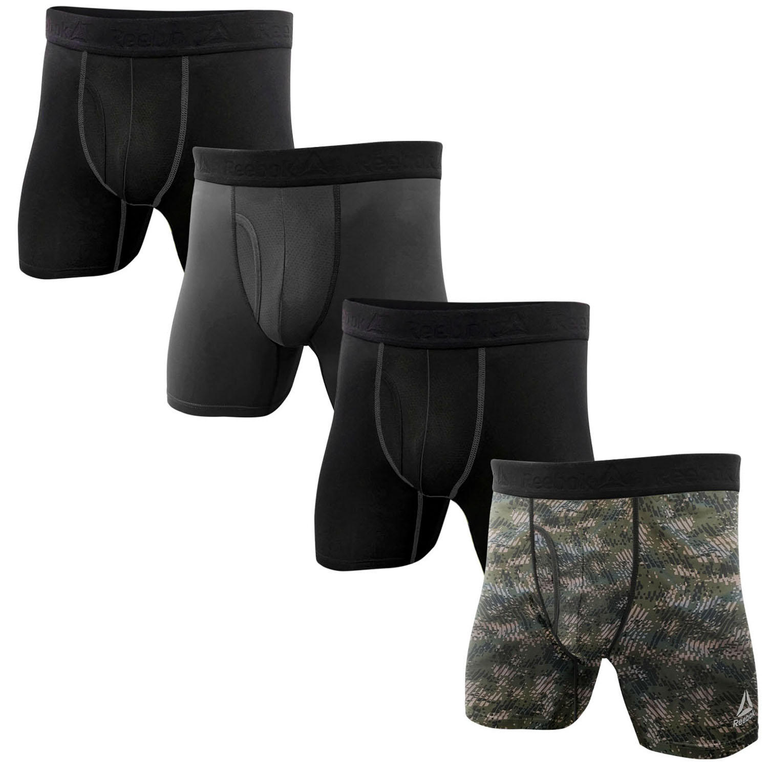Reebok Mens 4 Pack Performance Boxer Briefs with Comfort Pouch - Black/Camo/Black/Grey Small