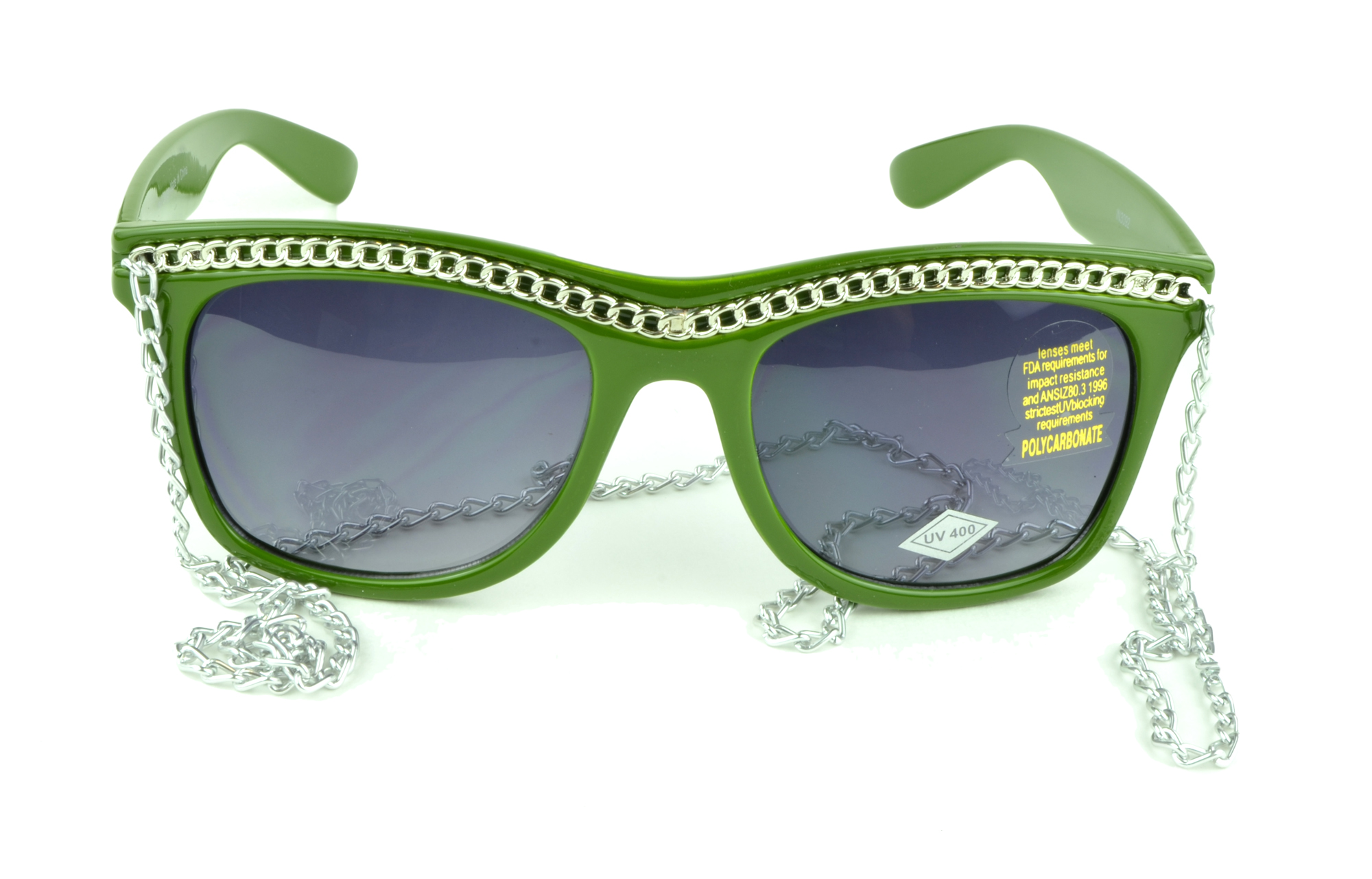 Belle Donne - Womens Fashion Hot Celebrity Style Gold Chain Sunglasses- Olive