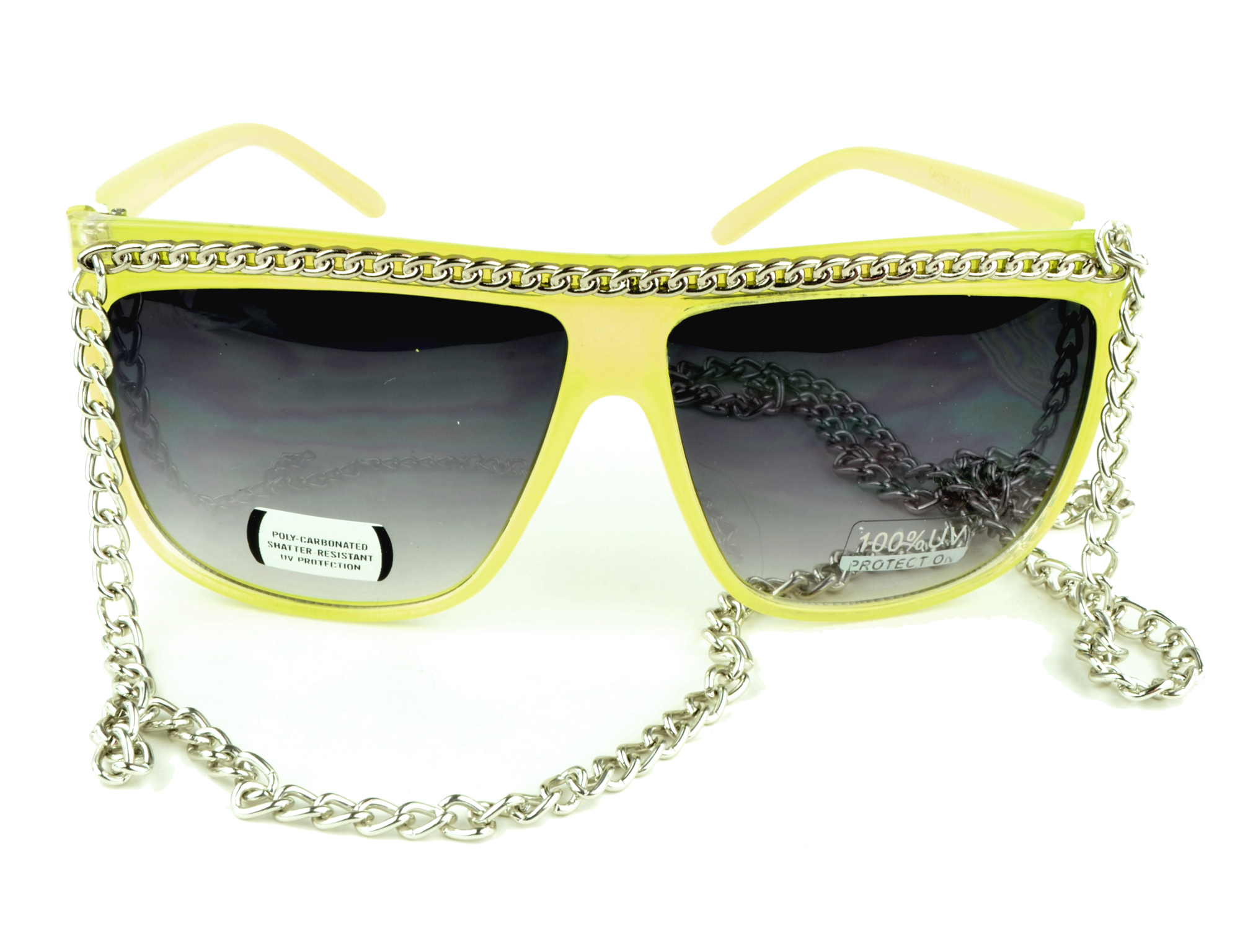 Belle Donne - Women's Hot Celebrity Style Chain Fashion Sunglasses - Yellow One Size