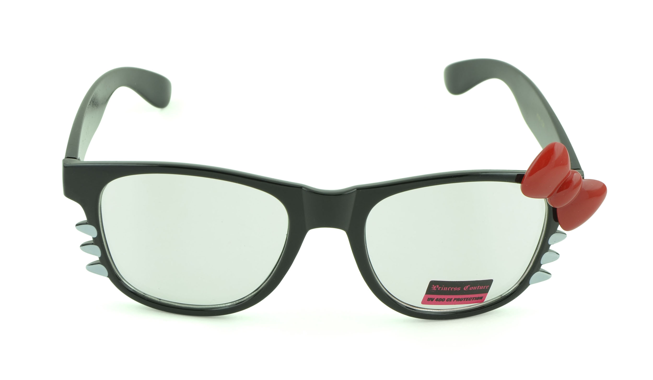Belle Donne-Womens Kitty Style Sunglasses | Whiskers and Bow Accent-ClearBlack