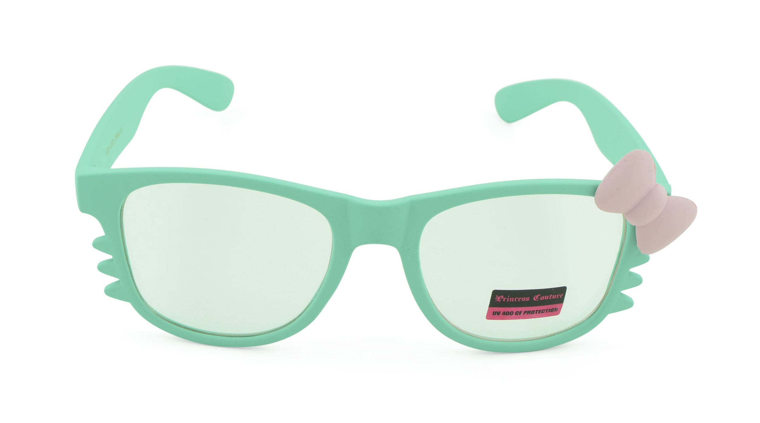 Belle Donne-Women's Kitty Cat Style Sunglasses | Whiskers and Bow Accent-Teal
