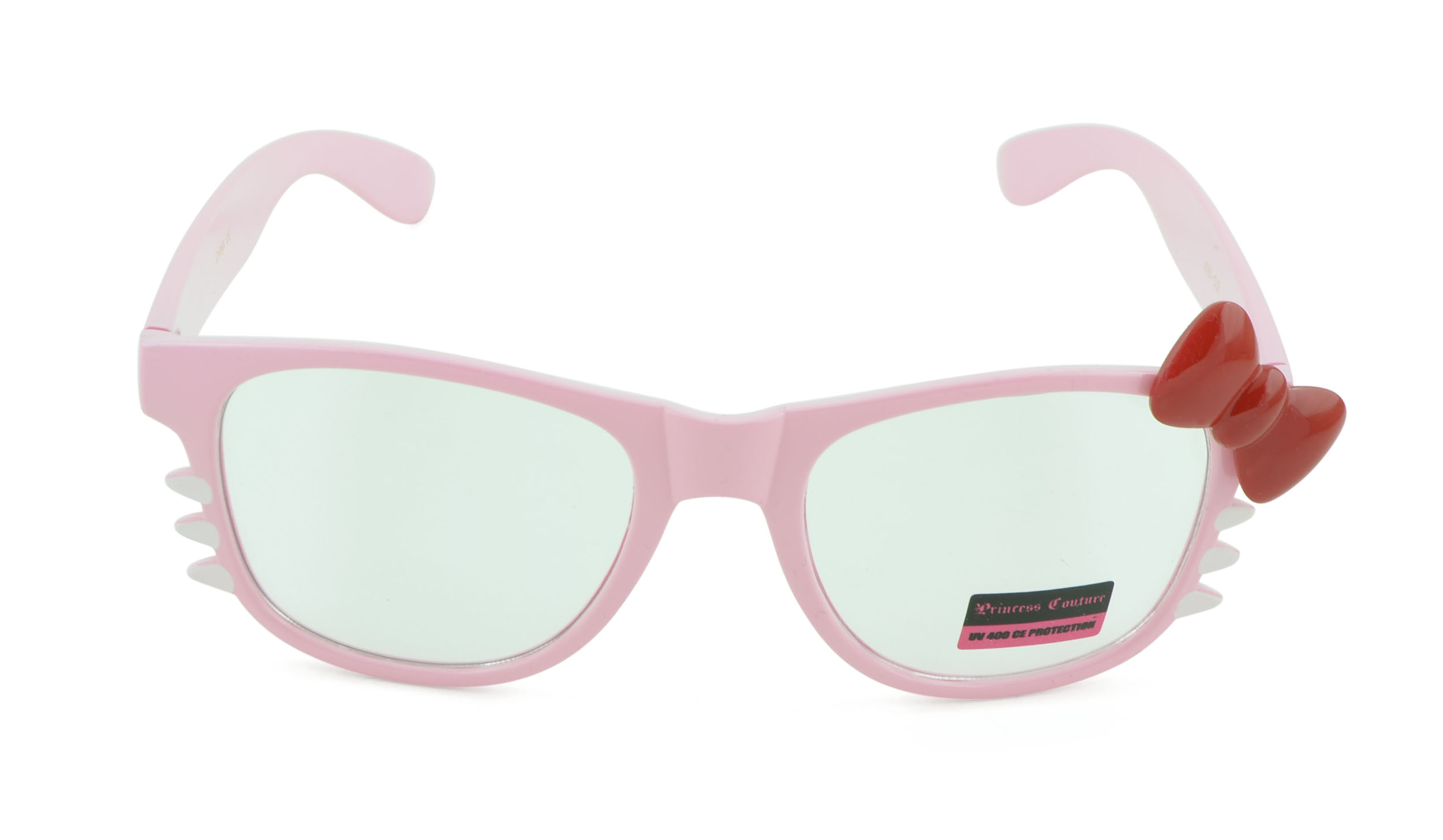 Belle Donne-Womens Kitty Style Sunglasses | Whiskers and Bow Accent-Clear Pink