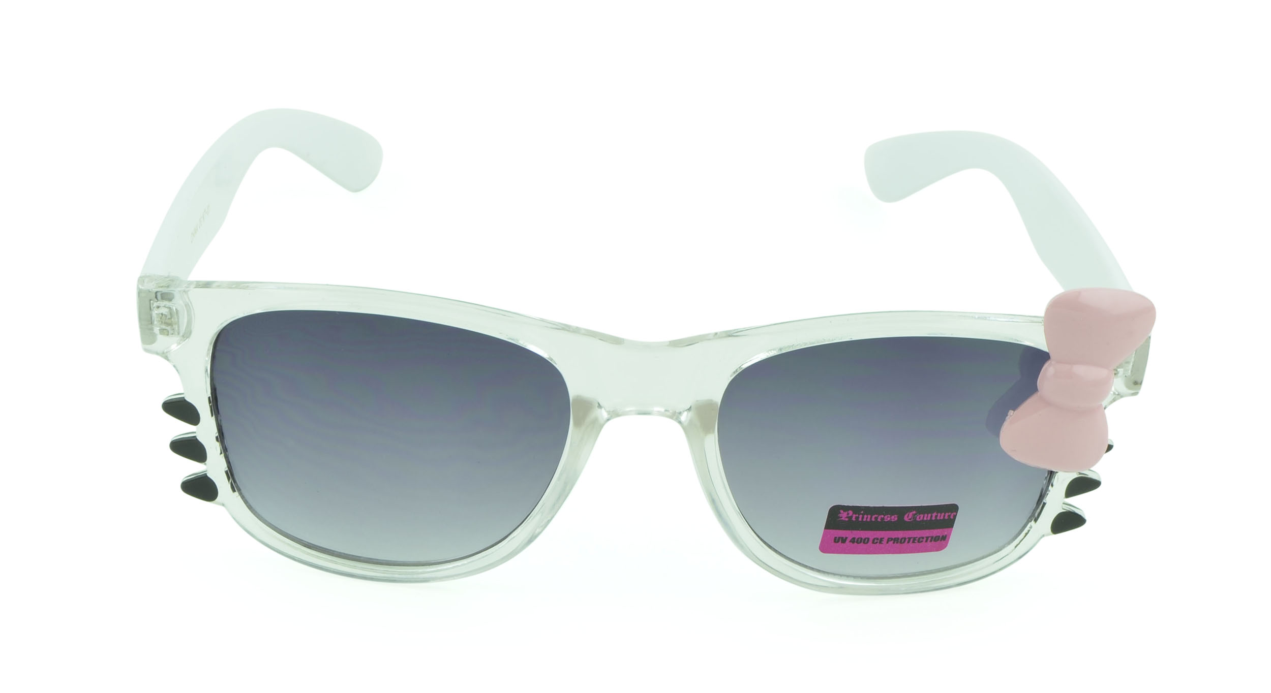 Belle Donne-Women's Kitty Cat Style Sunglasses | Whiskers and Bow Accent-Crystal