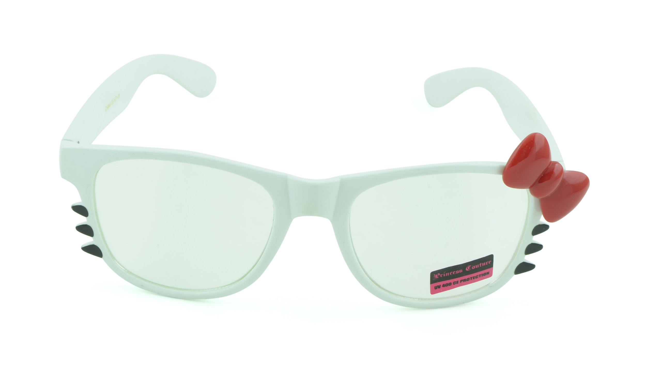 Belle Donne-Women's Kitty Cat Style Sunglasses | Whiskers and Bow Accent-White3