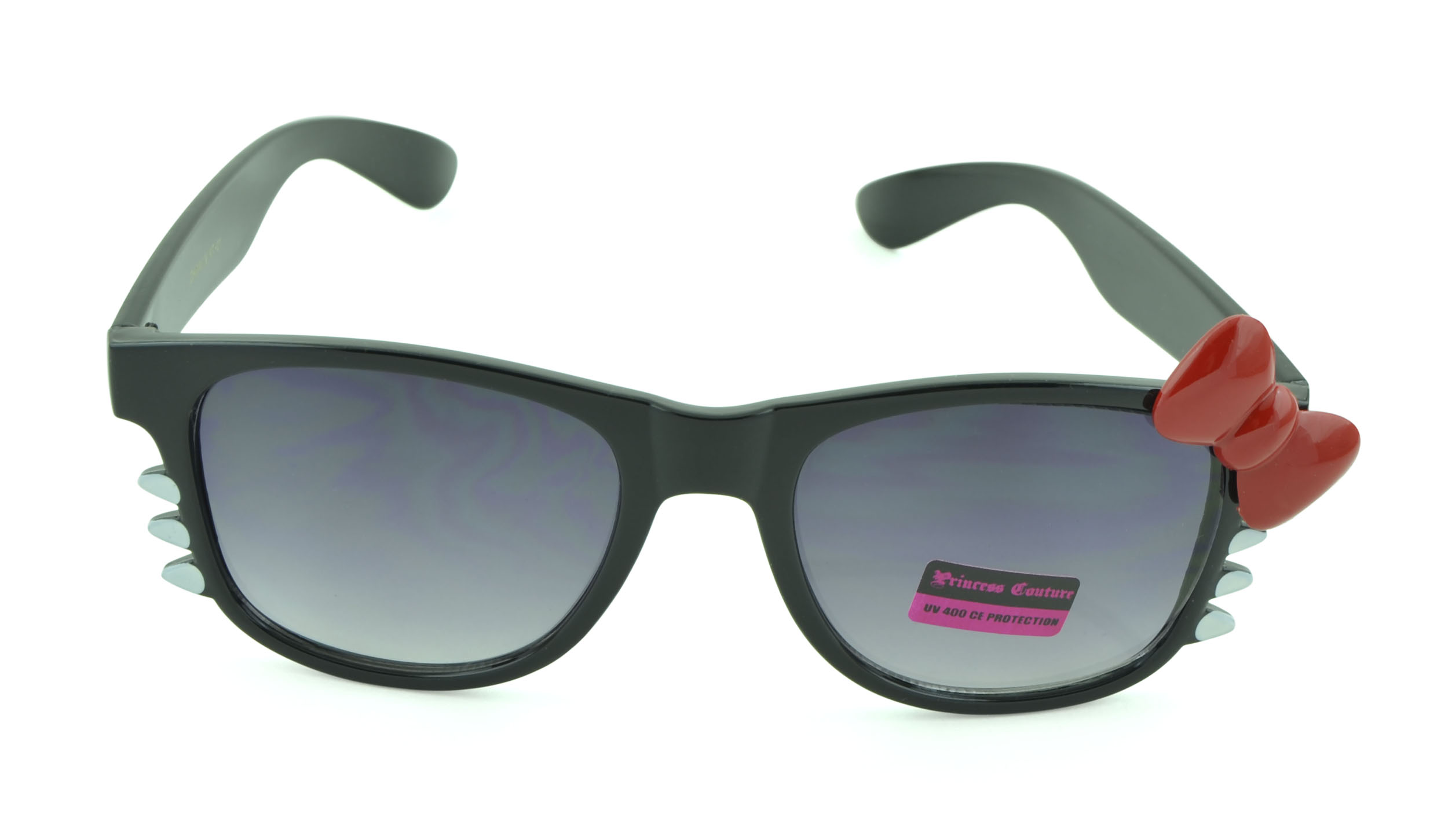 Belle Donne-Women's Kitty Cat Style Sunglasses | Whiskers and Bow Accent-Black2