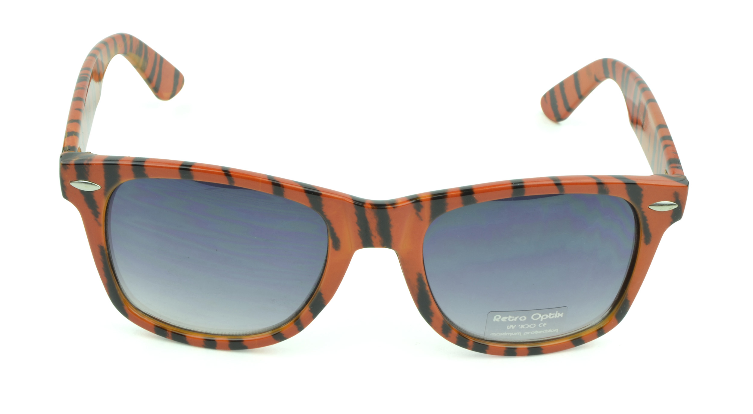 Belle Donne - Unisex Animal Print Wayfarer Sunglasses - Orange Stripes