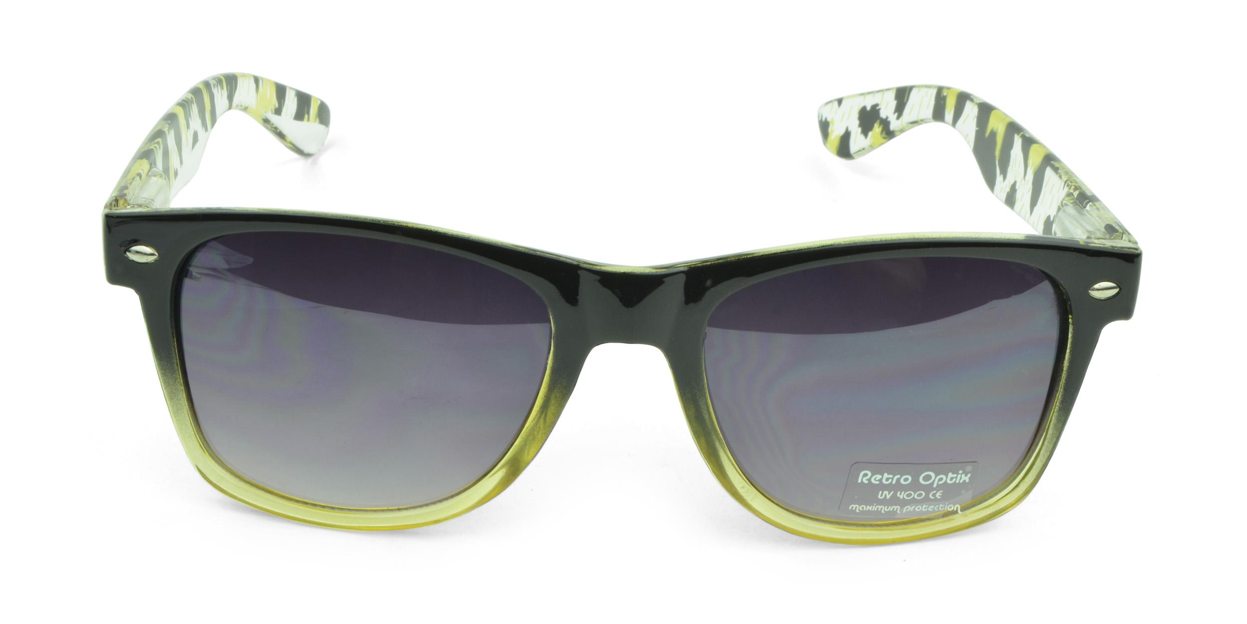 Belle Donne - Wayfarer Style Sunglasses Trendy Cheap Sunglasses High Quality Animal Print - Yellow