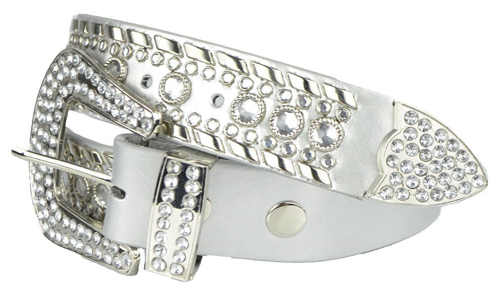 Womens Studded Belts - Multiple Colors & Designs - Western Cowgirl PU Leather Rhinestone Belt with Bling Buckles by Belle Donne - Silver
