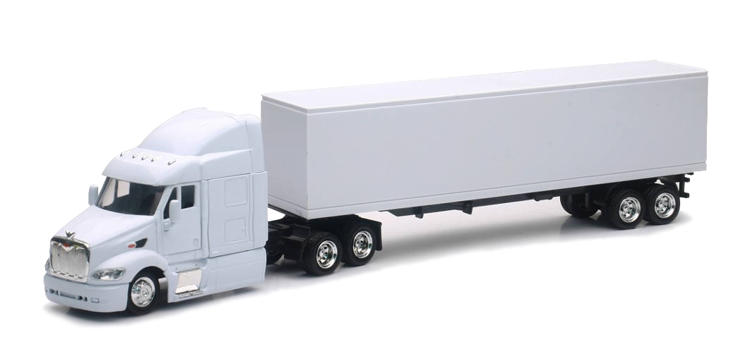 Shop72 Personalized Diecast Truck - 1:43 Scale Peterbilt 387 White Cab & Trailer - Add Your Company Logo or Custom Designs - Great Gift for Truck Drivers