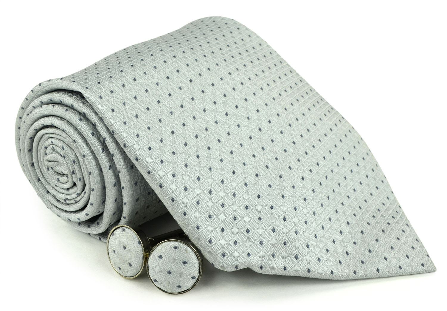 Moda Di Raza Men's NeckTies - 3 Inch Tie - Gift Box Sets - LightGray Tie With Cuff-link In Box