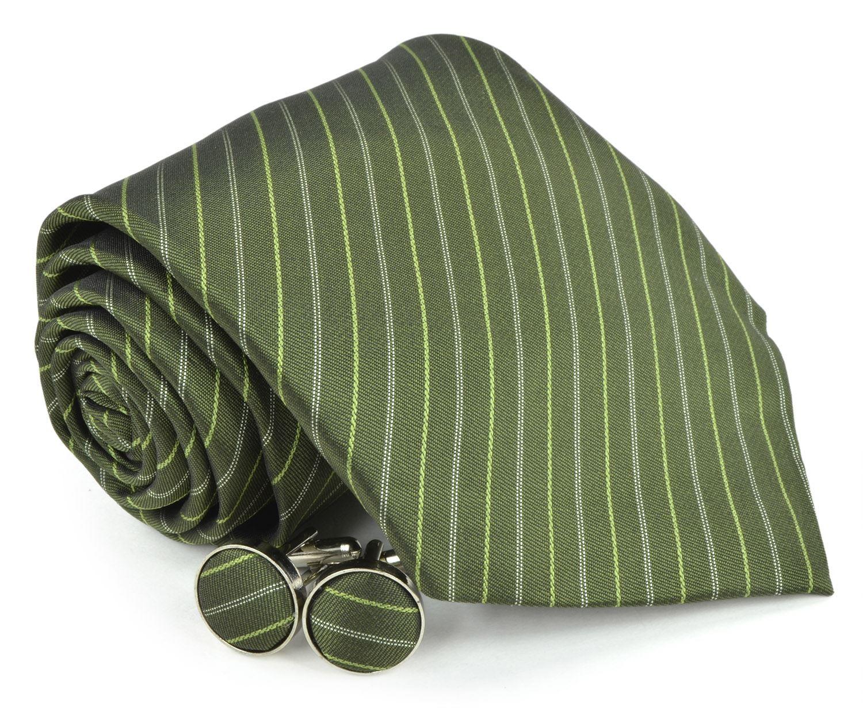Moda Di Raza Men's NeckTies - 3 Inch Tie - Gift Box Sets - Dark Green Tie With Cuff-link In Box