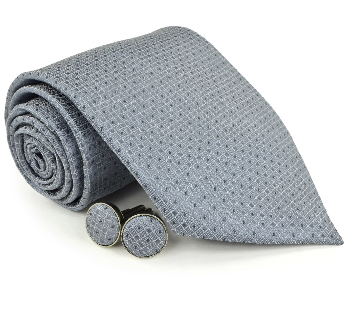 Moda Di Raza Men's NeckTies - 3 Inch Tie - Gift Box Sets - Gray Tie With Cuff-link In Box