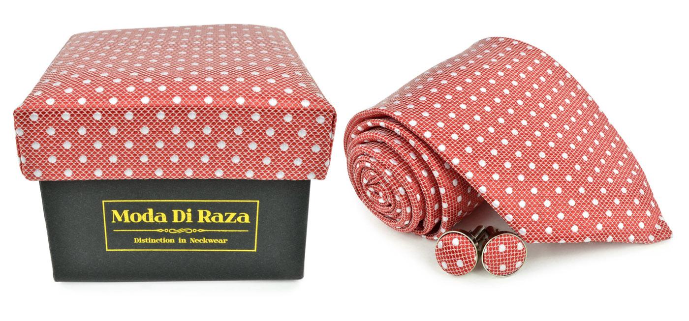 Moda Di Raza Men's NeckTie 3.0 With Cufflink n Gift Box Wedding Formal Events - Red