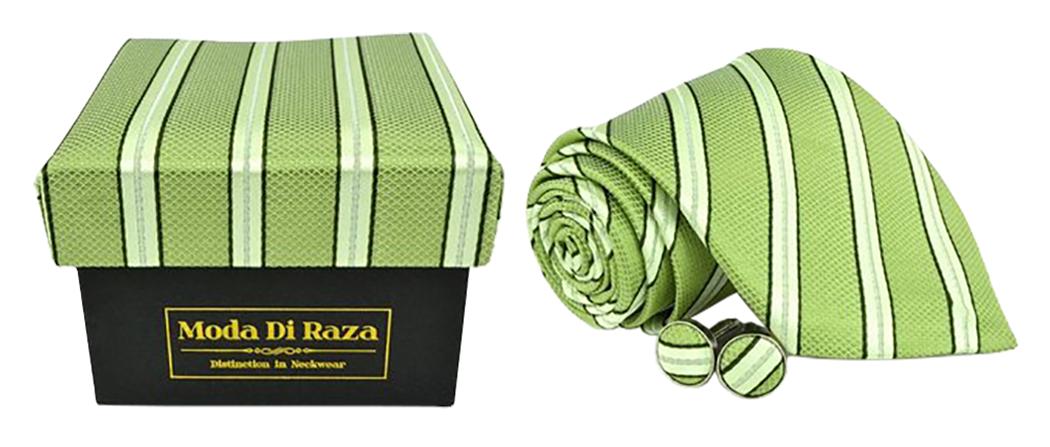 Moda Di Raza Men's NeckTie 3.0 With Cufflink n Gift Box Wedding Formal Events - Light Green