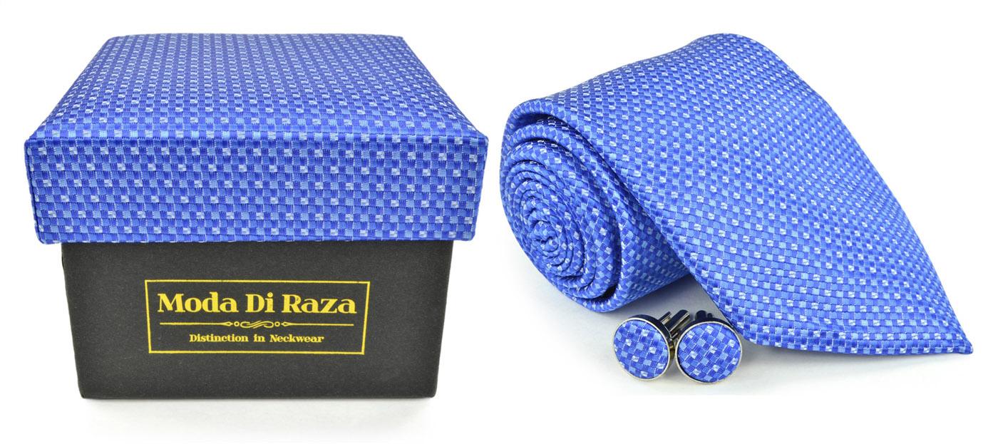 Moda Di Raza Men's NeckTie 3.0 With Cufflink n Gift Box For Formal Events - Dark Blue