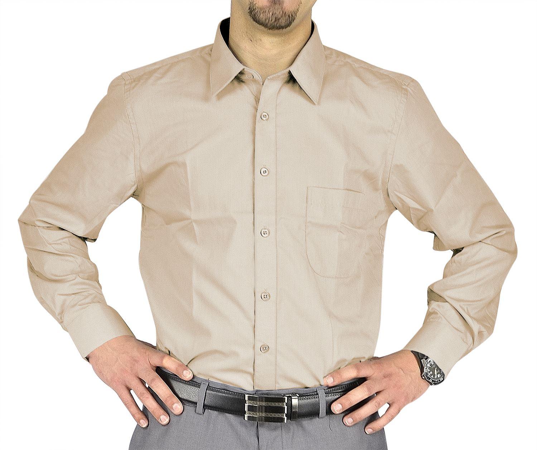Moda Di Raza- Men's Slim Fit Casual Dress Shirts - Ecru / 34/35-18.5